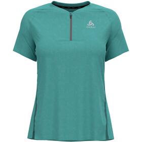 Odlo Axalp Trail T-shirt S / S 1/2 lynlås Damer, petroleumsgrøn